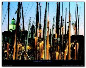 Harbour At Night plakat obraz 50x40cm