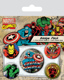 MARVEL COMICS przypinki zestaw 1+4