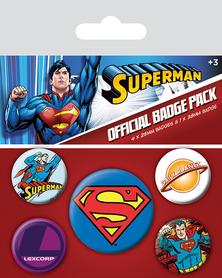 SUPERMAN przypinki zestaw 1+4