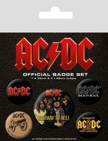 AC DC przypinki zestaw 1+4