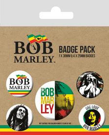 BOB MARLEY przypinki zestaw 1+4