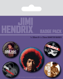 JIMI HENDRIX przypinki zestaw 1+4