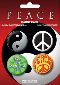 PEACE przypinki zestaw 4