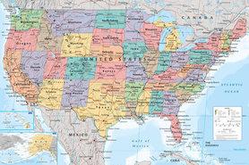MAPA USA plakat 91x61cm