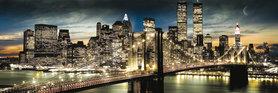NEW YORK MANHATTAN NIGHT AND MOON plakat 90x30cm