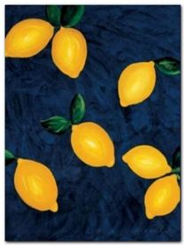 Lemons With Leaves plakat obraz 60x80cm