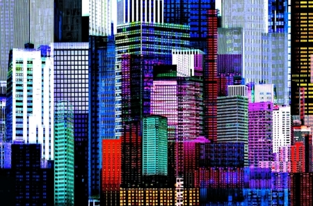 COLOURFUL SKYSCRAPERS fototapeta 175x115cm (1)