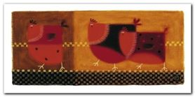 Red Chickens plakat obraz 100x50cm