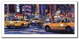 Yellow Cabs, Nyc plakat obraz 100x50cm