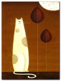 Feline And Two Leaves plakat obraz 60x80cm