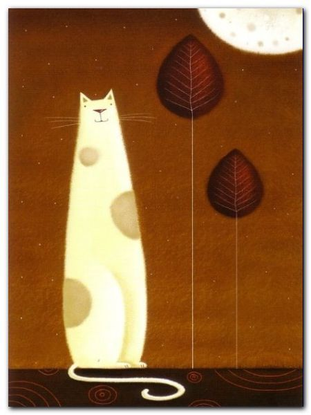 Feline And Two Leaves plakat obraz 60x80cm (1)