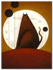 Cat And The Moon I plakat obraz 60x80cm