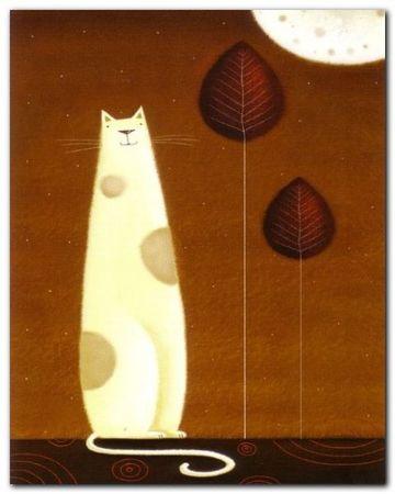 Feline And Two Leaves plakat obraz 24x30cm (1)
