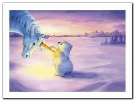 Unicorn And Polar Bear plakat obraz 40x30cm (1)