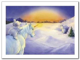 Unicorn And Polar Bear plakat obraz 40x30cm