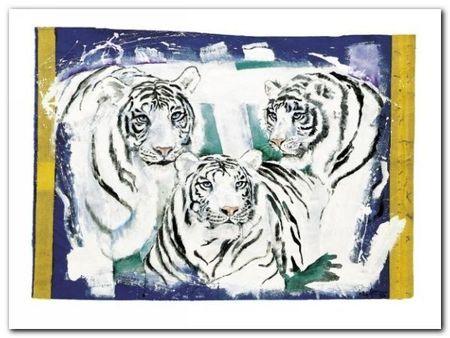 Three White Tigers plakat obraz 80x60cm (1)