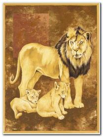 Lion And Two Cubs plakat obraz 60x80cm