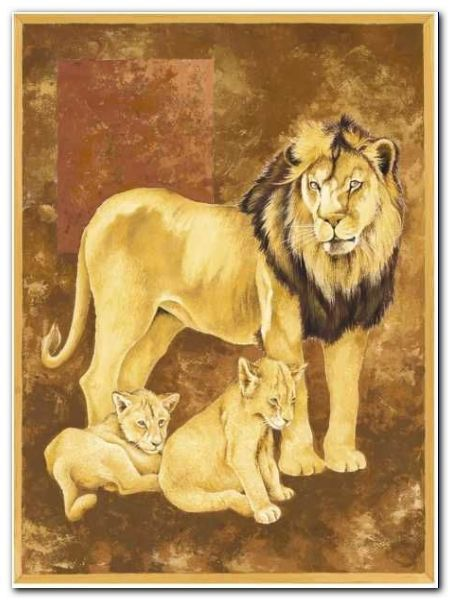 Lion And Two Cubs plakat obraz 60x80cm (1)