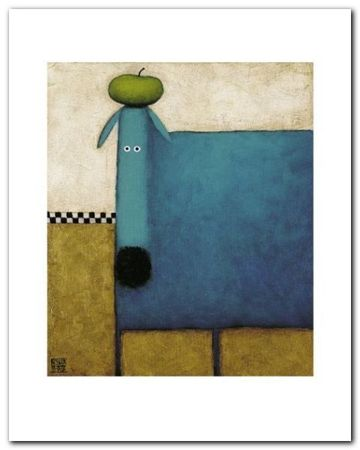 Turquoise Dog plakat obraz 24x30cm (1)