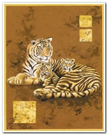 Tiger And Two Cubs plakat obraz 24x30cm (1)