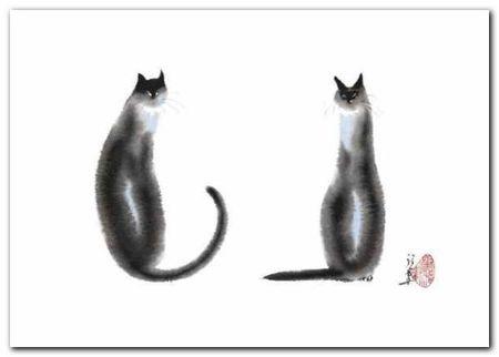 Two Cats Sitting plakat obraz 70x50cm (1)